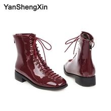 YANSHENGXIN Shoes Woman Boots 15 Eye Martin Ankle Low Heels Women Autumn Winter Large Size Ladies Booties
