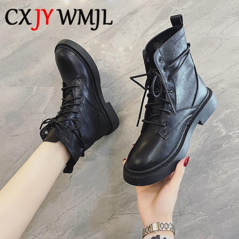 Осенние ботинки; Большие размеры; Женские ботинки; Модные женские мотоциклетные ботинки на шнуровке; Удобные черные ботинки на плоской подошве; Весенняя женская обувь; 42|Сапоги до середины голени|   | АлиЭкспресс