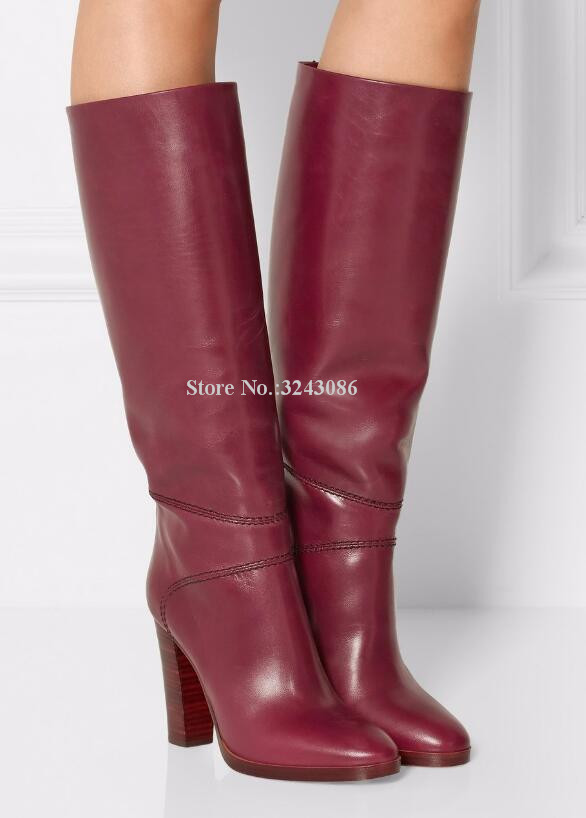 Vin rouge cuir talon épais genou bottes femme meilleur Design grande taille chevalier bottes longues dames talon épais Banquet chaussures livraison directe