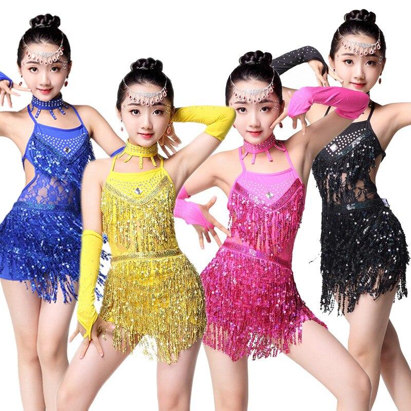 New Sequin Children's Latin Dance Dress Girl's Child Salsa Tango Ballroom Dancing Dress Competition Costumes Girl Fringe Skirt