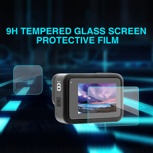 Image 2 - 7 En 1 para GoPor Hero 8 Black Accessoires, funda de silicona/bolsa de funda EVA/Protector de pantalla de vidrio templado/cordón/correa de muñeca go pro 8