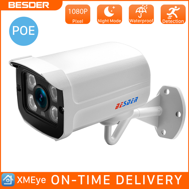 BESDER 1080 P 960 P 720 P zewnętrzna kamera IP PoE szeroki kąt 2.8mm Metal Case ONVIF RTSP bezpieczeństwa wodoodporna kamera IP CCTV APP XMEye