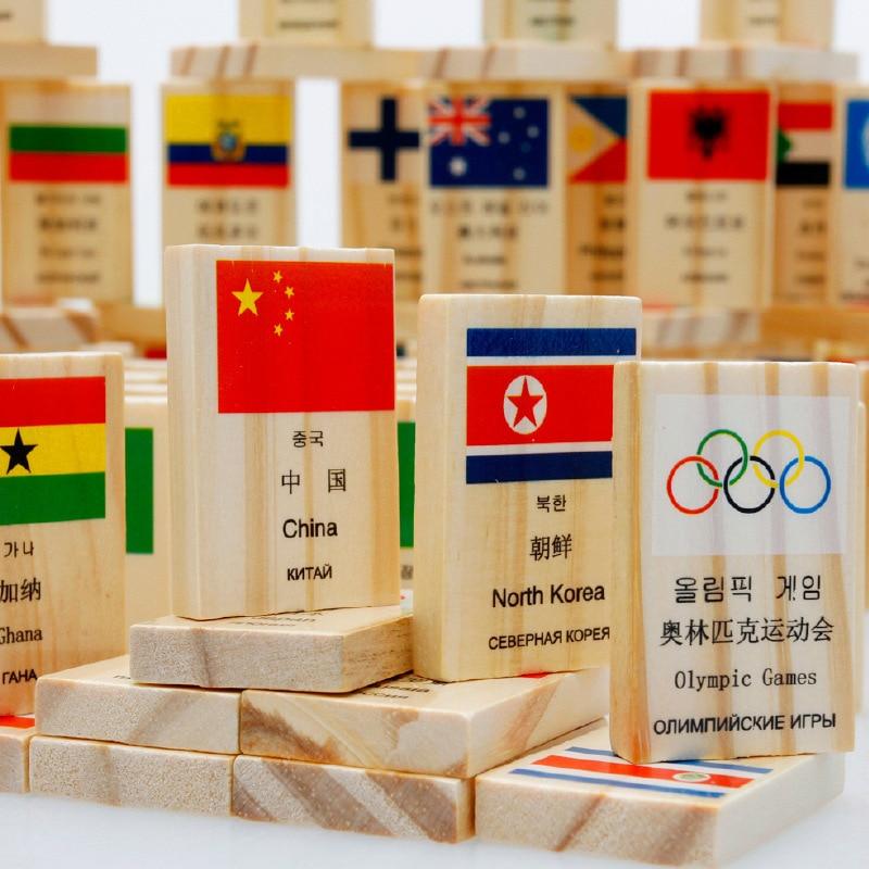 construção de madeira brinquedos quatro línguas bandeira