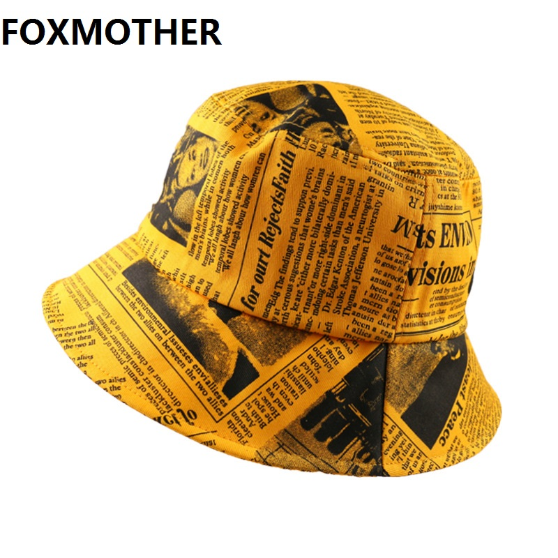 FOXMOTHER Black White Letter Newspaper Print Sun Hat Fashion Fisherman Hats Men Women Street Hip Hop Bucket Hat Fishing Cap