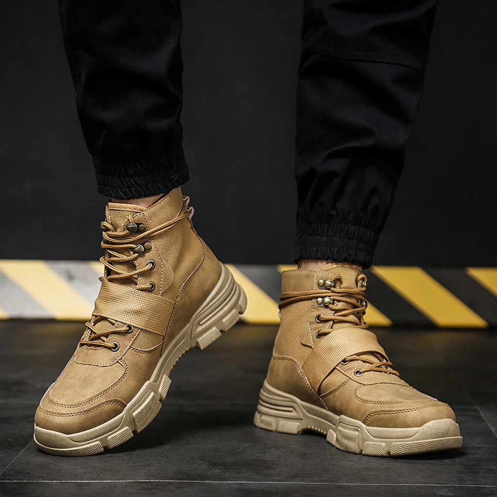 Scarpe da uomo stivali 2019 genuino DELL'UNITÀ di ELABORAZIONE di inverno e di autunno degli uomini Piatto casual Scarpe Non-slip Comfort Breve Stivali scarpe Da Trekking all'aria aperta