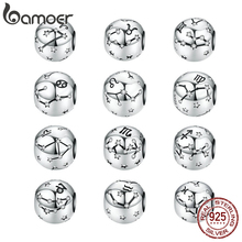 Vintage 925 Sterling Silver Aquarius Star Sign Zodiac Beads Charms fit Bracelets DIY Twelve Constellations SCC1218 cheap bamoer CN(Origin) original design constellation Zircon SCC1218 zodiac GDTC Oval Shape 2 1g Fine about 11mm Only one free velvet jewelry bag for each parcel