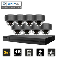 16ch 5MP Outdoor Dome IP Camera System Kit H.265 POE NVR Video Surveillance Security IP Cameras Vari Focus Alarm Video P2P