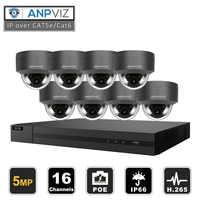 16ch 5MP Outdoor Dome IP Kamera System Kit H.265 POE NVR Video Überwachung Sicherheit IP Kameras Vari-Fokus Alarm video P2P