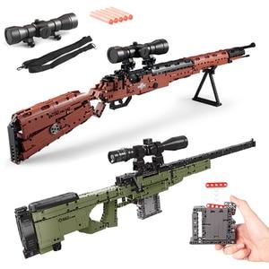 Building Blocks SWAT Technic Creator Military WW2 Weapon AWM 98K Sniper Models Pistol GUN Bricks Toys for Children Boys