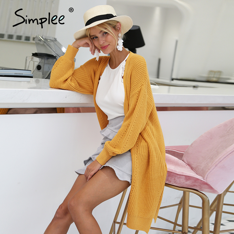 Simplee laterne hülse lange strickjacke Lose beiläufige gestrickte strickjacke jumper pullover Herbst winter 2018 mode frauen jumper pull