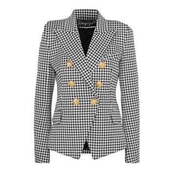 liva girl 2020 Fashion European Casual Slim fitness Metal Gold Button Jacket White Black Khaki Colors Female Blazer женское платье liva girl 2015
