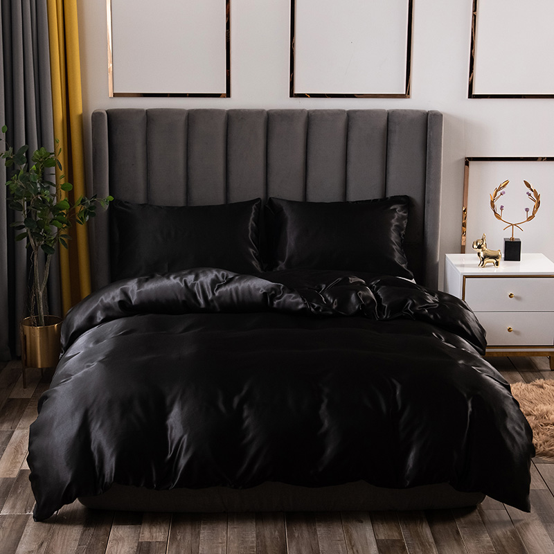 Luxury Bedding Set King Size Black Satin Silk Comforter Bed Home Textile Queen Size Duvet Cover