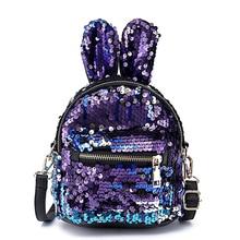 Women Backpack 3pcs/Set Rabbit Ears Sequins Mini Backpack Sequins Bags For Girls Teenage Shoulder School Clutch mini shining sequins backpack cute rabbit ear school bags for baby girls shoulder bag women baby girls backpack travel rucksacks