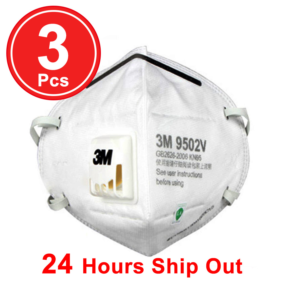 3Pcs 3M N9502V N95 Protective Masks Disposable Face Mask In Stock Ship Within 24h