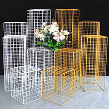 Wedding Road Lead Columns Iron Background Grid Metal Pillar Table Centerpieces Rack Event Party Decoration
