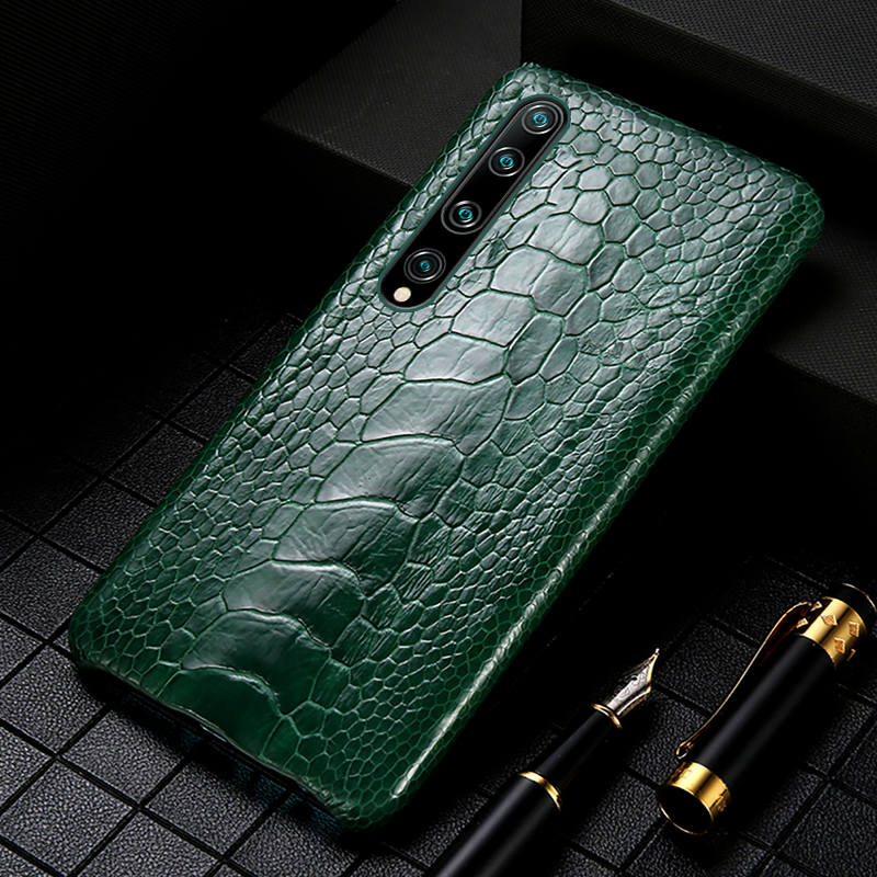 Genuine Ostrich Foot Leather Phone Case For Xiomi Mi 10 10 Pro 8 9 Lite 9T A2 A3 Cover For Xiaomi Redmi Note 8 Pro Note 7 8T 5