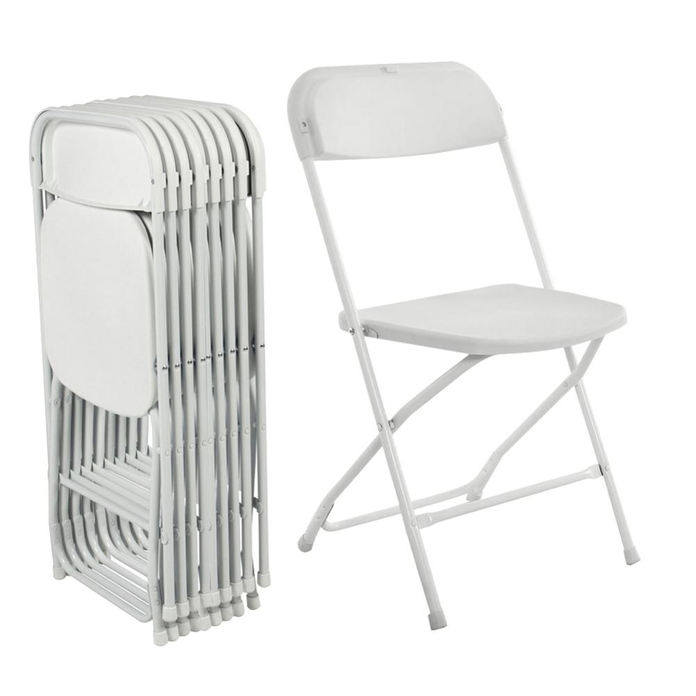 5pcs White Portable Plastic Folding Chairs Made Of Excellent Plastic Lightweight, Stable And Durable For Long Time Use