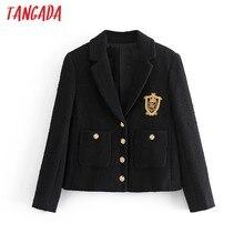 Tangada-Chaqueta elegante de manga larga para mujer, chaqueta de Tweed con bordado, trajes formales, 3H206