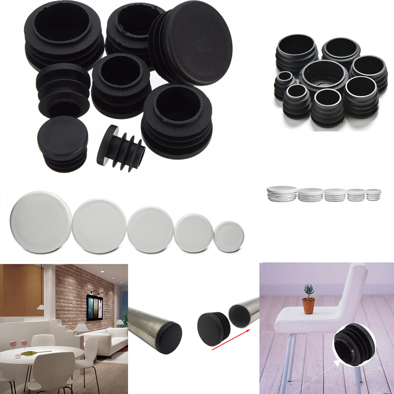 4pcs/lot White Plastic Blanking End Caps Round Pipe Tube Cap Insert Plugs Bung For Furniture Tables Chairs Protector