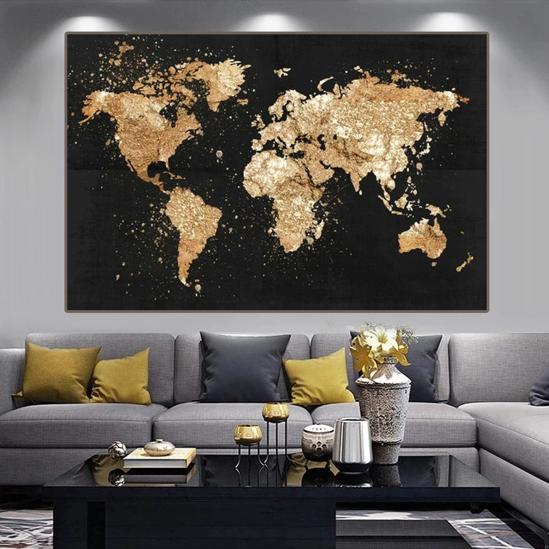 Grande taille carte du monde toile peinture rétro affiches et impressions moderne mur Art photo pour salon étude décor à la maison Cuadros