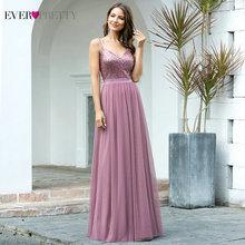 Long Prom Dresses 2020 EP07455OD Elegant A Line V Neck Tulle Wedding Party Gowns With Sequin Vestidos De Fiesta Elegantes Largos
