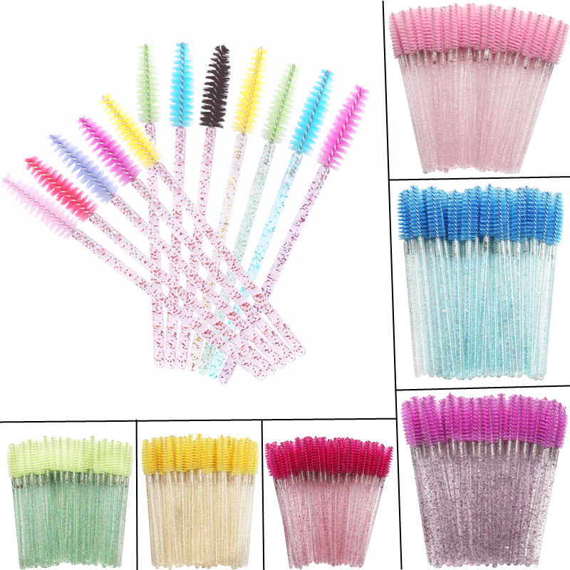 50pcs crystal handle Eyelash Brushes Makeup Brushes Cosmetic Disposable Mascara Wands Applicator colorful Makeup Tool Soft Head