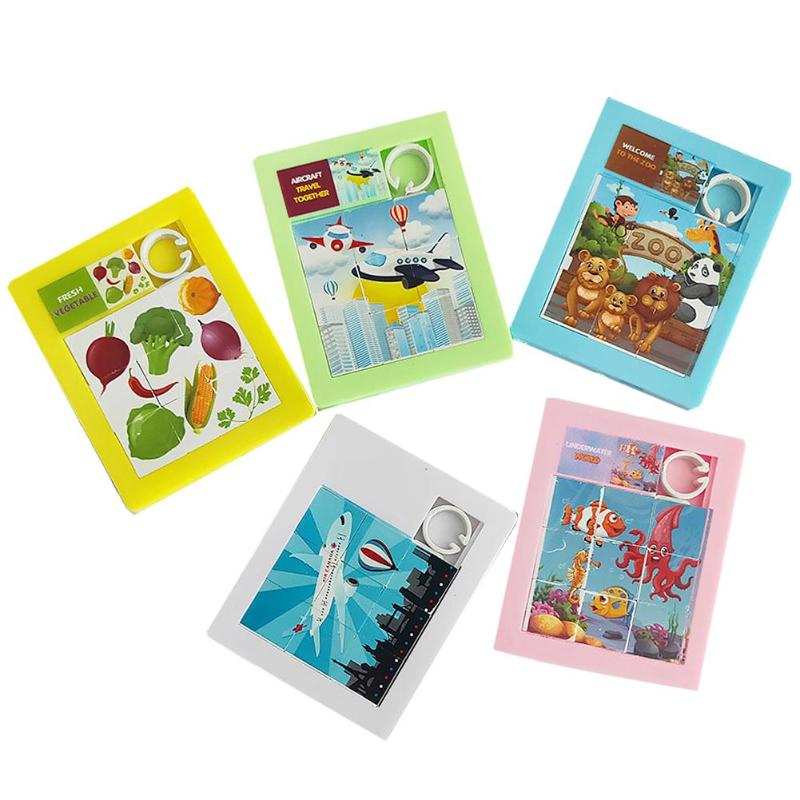Kids Educational Toy Exercise Practical Ability Color Cognition Cartoon Sliding 9 Grid Jigsaw DIY Dimensional Moving Puzzle