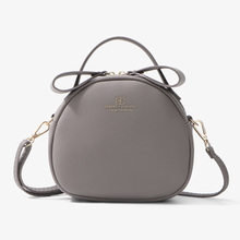 7 Colors PU Fashion Small Round Women Shoulder Bag Wallet Zipper Pocket Leather Solid Womens Crossbody Bags Female wallet