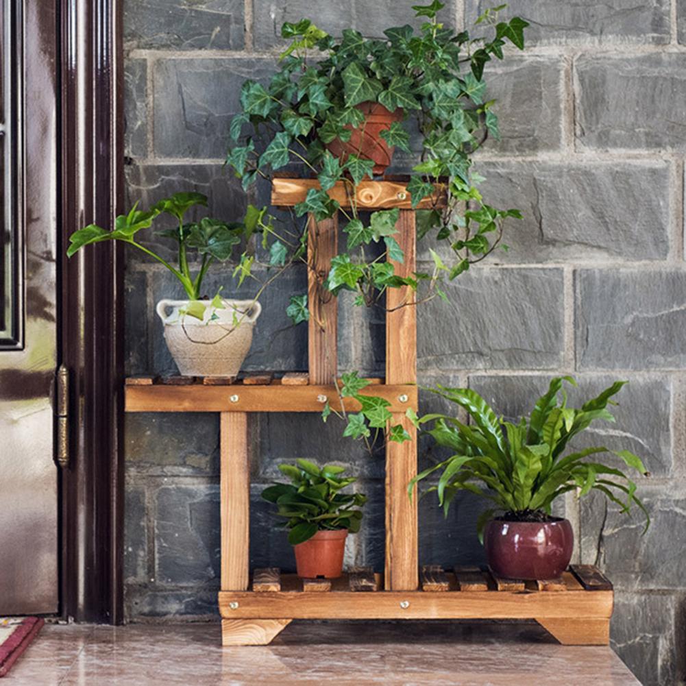 Multilayer Wood Plant Shelves Garden Plant Flower Pot Stand Shelf Nursery Display Shelves Rack  Outdoor Garden Shelves