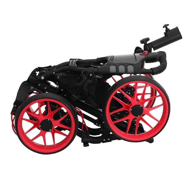 Folding Aluminum Alloy Golf Trolley 4 Wheels Golf Bag Pull Push Cart Umbrella Cup Holder Adjustable Trolley with Footbrake 6