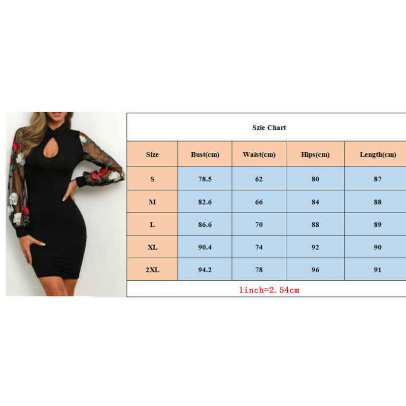 נשים שמלה מזדמן סקסי Mesh רשת דייגי גבירותיי Bodycon טלאים פרחוני שרוול פנס ארוך שרוול Clubwear המפלגה מיני שמלה חמה