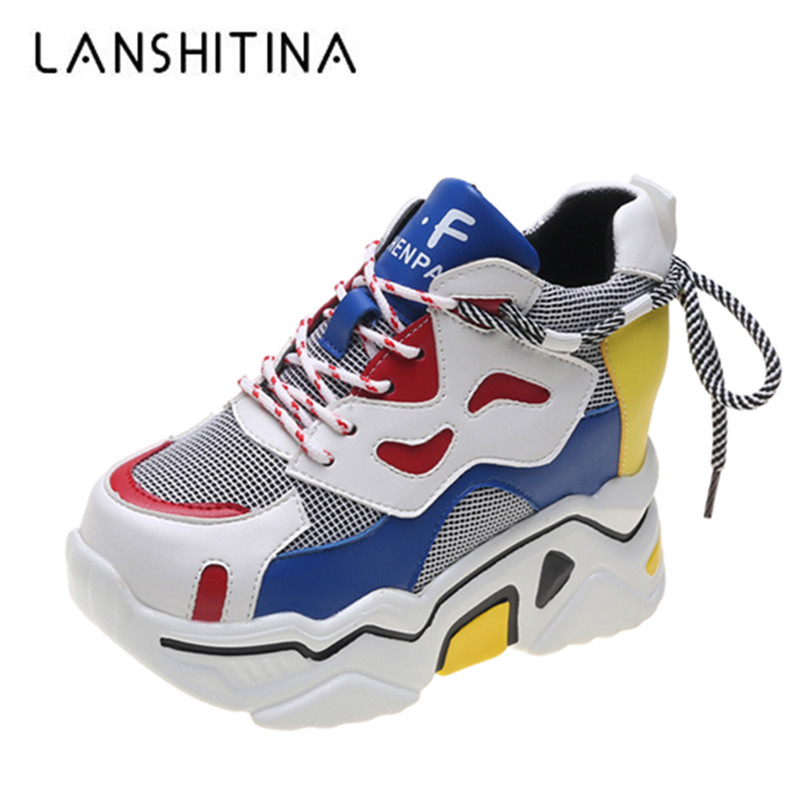 2019 Autumn Mixed Colors Women Sneakers Breathable Platform Shoes Designer Chunky Sneakers Fashion Basket Femme Dad Casual Shoes