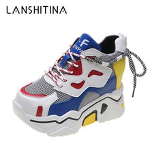 2019 Autumn Mixed Colors Women Sneakers Breathable Platform Shoes Designer Chunky Sneakers Fashion Basket Femme Dad Casual Shoes цена