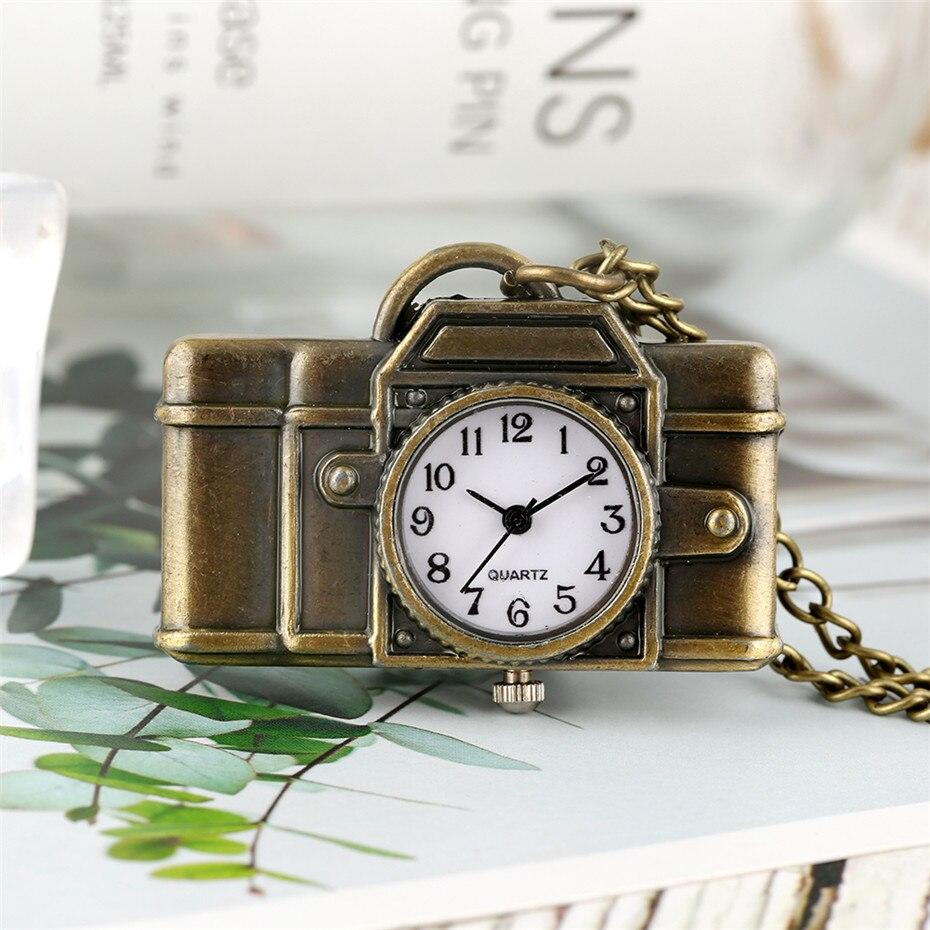Vintage Bronze Camera Shape Arabic Numerals Display Quartz Pocket Watch Mini Pendant Clock Fob Sweater Chain Gifts For Kids