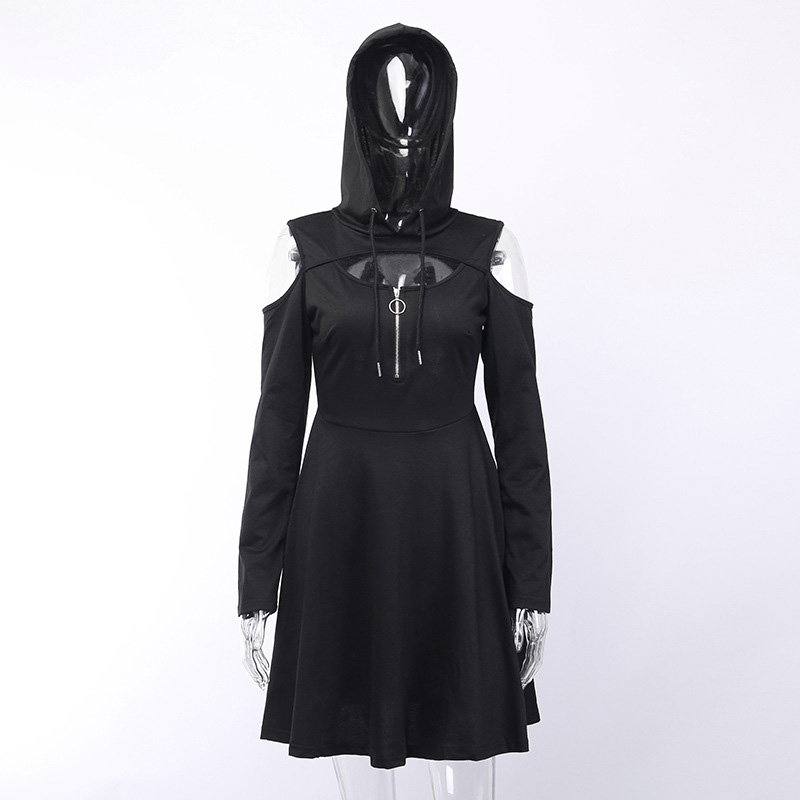 Fitshinling Open Shoulder Gothic Dresses Women Clothing Punk Harajuku Solid Black Hoody Dress Autumn Slim Sexy Short Vestidos in Dresses from Women 39 s Clothing