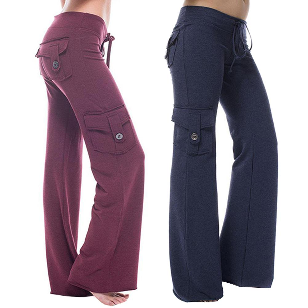 Women Solid Color Multi-pocket Button Stretch Trousers Slim-Fit Sport Pants Button Stretch Trousers Slim-Fit Sport Pan