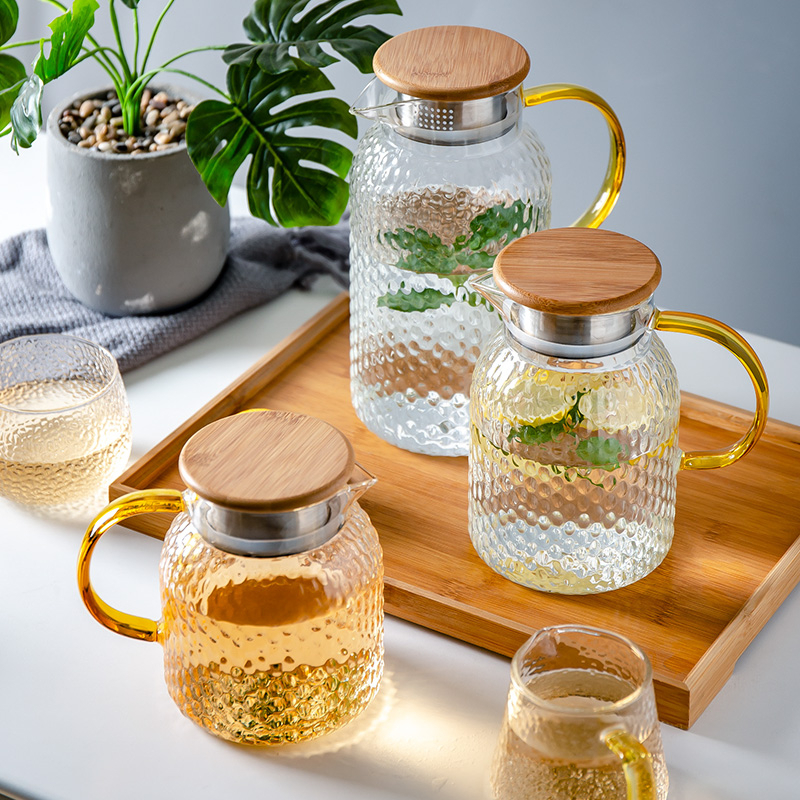 Hammer Borosilicate Glass Teapot Infusion Of Tea Pot Cold Kettle With Bamboo Lid Filter Transparent High Temperature Resistance