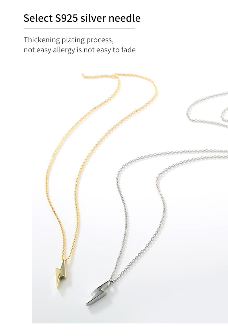Hef555cdf1ec042b5ac962efd85ef3e6bg Dorado 925 Sterling Silver Necklaces Golden Silver Lightning Pendant Necklaces Fine Jewelry Gift Birthday  For Women
