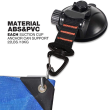 Suction-Cup Car-Mount Camping Tarp-Accessory Anchor with Securing-Hooks as Car-Side Awning