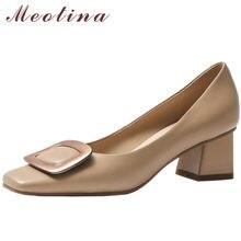 Meotina – escarpins en cuir véritable à talons hauts et épais pour femmes, chaussures de printemps avec décoration en métal, bout carré, vert 40, 2021