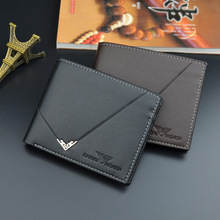 Men Wallet Business Short Three Folding Black Ultrathin Purse High Quality PU Credit Card Holders