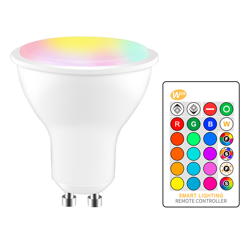 GU10 5W Colorful LED Infrared Remote Control Dimming RGBW Lamp Atmosphere Light Cup Without Battery
