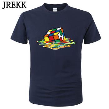 2020 letnie męskie koszulki teoria wielkiego podrywu drukowane stylowy wygląd topnienia Rubik #8217 s cube t-shirty bawełniane bluzki Unisex Tees C06 tanie i dobre opinie JREKK SHORT CN (pochodzenie) Z okrągłym kołnierzykiem conventional Sukno COTTON Na co dzień Drukuj Rubik s cube XS S M L XL XXL