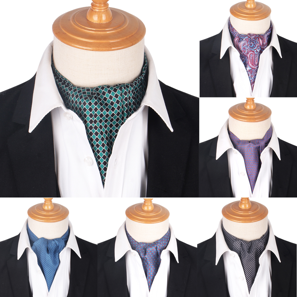 New Print Paisley Men Cashew Tie Wedding Formal Cravat Ascot Scrunch Self British Gentleman Polyester Soft Neck Tie Luxury