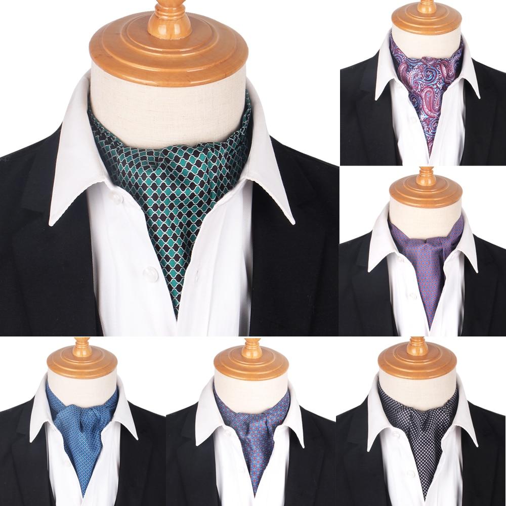 New Print Paisley Men Cashew Tie Wedding Formal Cravat Ascot Scrunch Self British Gentleman Polyester Soft Neck Tie Luxury