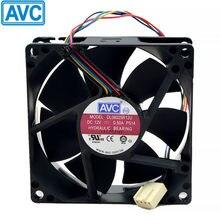 Para avc 8025 fã 80mm x 80mm x 25mm dl08025r12u rolamento hidráulico pwm cooler ventilador de refrigeração 12 v 0.50a 4 fio 4pin conector