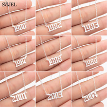 SMJEL Punk Old English Personalized Date Necklaces 1980 1987 1988 1989 1990 1991 1992 Custom Birth Year Necklace Collier 2019