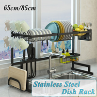 Stainless Steel Dish Rack Multifunctional Plate Cutlery Cup Dish Drainer Shelf Above Sink Kitchen Storage Organizer Holders