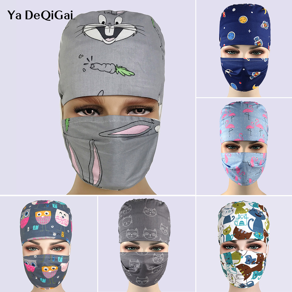 High Quality Printing Breathable Pharmacy Hat Hospital Nurse Scrub Cap Dentistry Surgical Caps Adjustable Beauty Salon Hats Mask