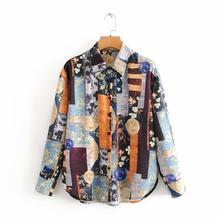 new 2020 women vintage irregular totem print casual blouses office ladies retro